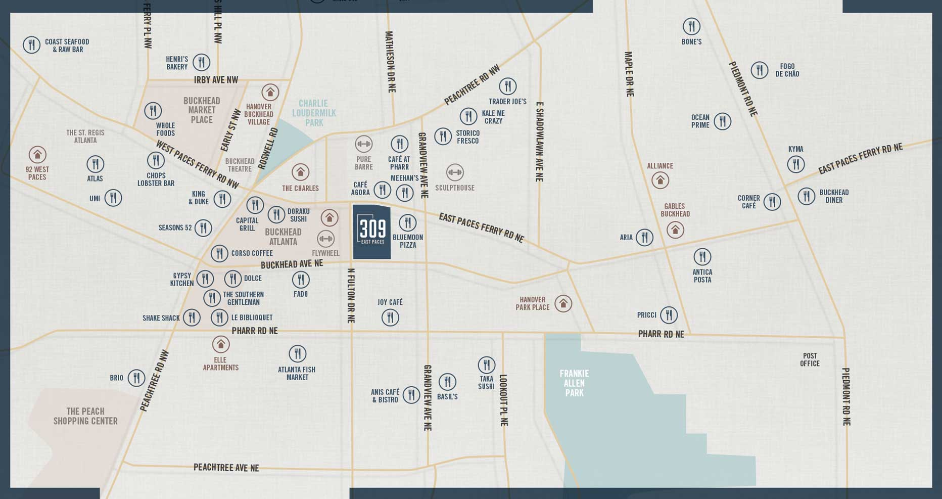 309 East Paces - Amenities Map